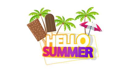 Hola letras de verano con helado, aislado en blanco Foto de archivo - 81002360