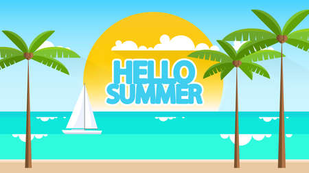 Summertime Flat Style Vector Landscape with Space for Your Text