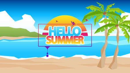 Abstract Summer Vector Background. Eps 10. Abstract Summer Label with Low Polygon Beach Landscape.