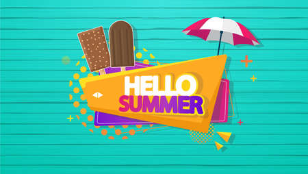 lollies: Hello Summer Vector Background, Colorful Label on Wooden Floor.