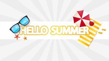 Hello Summer Abstract Vector Design and Other Summer Design Elements Illustration