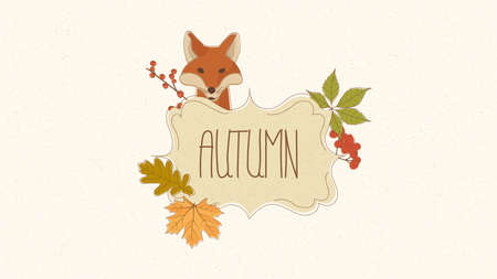 Hand drawn autumn frame and space for your text illustration