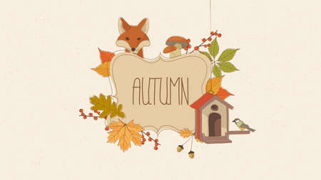 Hand Drawn Autumn Illustration. Autumnal frame and Space for your text. Illustration