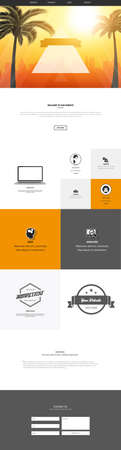 One Page Website Template With Abstract Summer Header Design. Website Wireframe in Eps 10 Illustration. Illustration