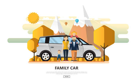 Happy Family With Family Car in Outdoor Park. Vector Illustration. Stock Illustratie