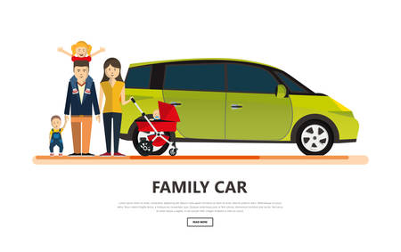 Family car with happy family isolated vector illustration.