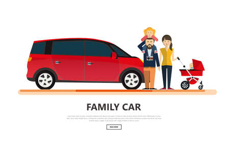 Family car with happy family isolated vector illustration. Vetores