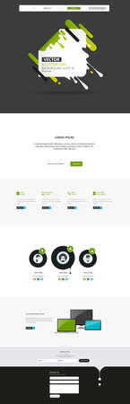 Responsive One Page Website Template With Header Design. Vector Website Wireframe Illustartion. Vektoros illusztráció