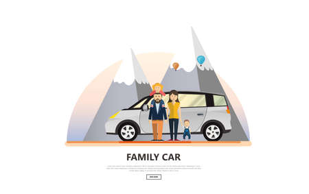 Vector illustration of Family Holiday Car Trip.