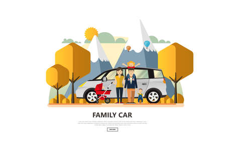 Vector illustration of Family Holiday Car Trip. Stock Illustratie