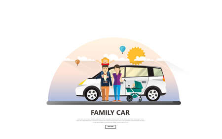 Vector illustration of Family Holiday Car Trip. Vetores