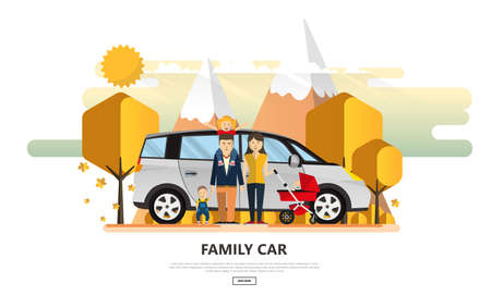 A Vector illustration of Family Holiday Car Trip. Stock Illustratie