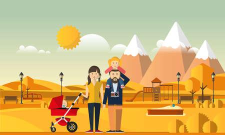 Family Autumn Background. Happy family in autumn park. Illustration