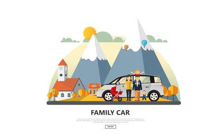Vector illustration of Family Holiday Car Trip. Illustration