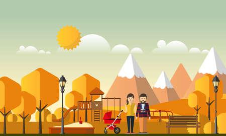Familie Herbst Hintergrund. Glückliche Familie im Herbst Park.