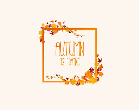Vector frame with elegant composition of autumn leaves.