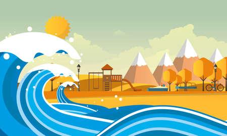 Tsunami, Flood Disaster, Vector Illustration. Overflooded Landscape.
