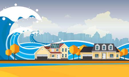 Tsunami, Inondazione, illustrazione vettoriale. Paesaggio sovraccarico.