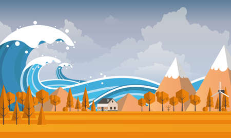 Tsunami, Flood Disaster, Vector Illustration. Overflooded Landscape.