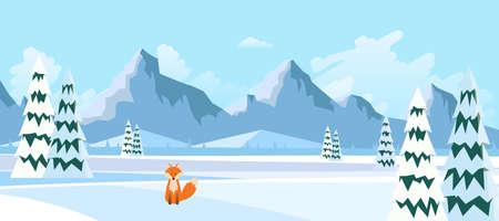 Winter Landscape with Fox in Flat Style Illustartion Illustration