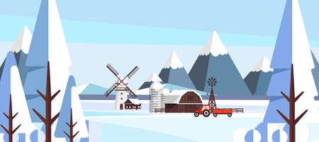 Winter Landscape in Flat Style Illustartion Illustration