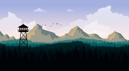 Vector Art Landscape with Fire Lookout Tower Illustration