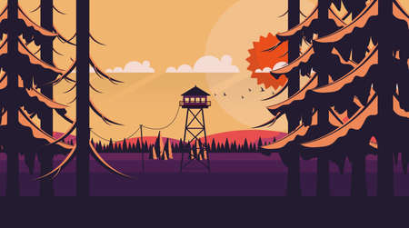 Vector Art Landscape with Fire Lookout Tower Ilustrace