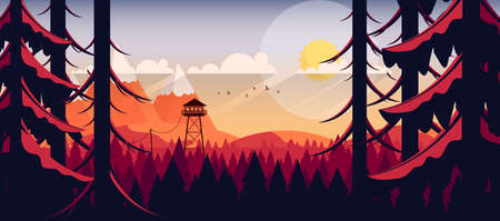Art Landscape with Fire Lookout Tower Illustration