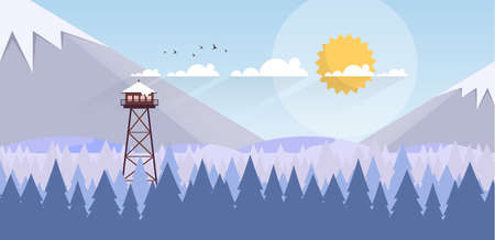 Art Winter Landscape with Fire Lookout Tower Vectores