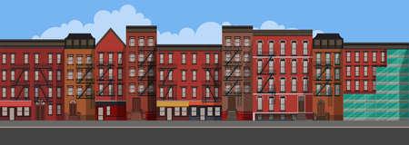 Vector Art Flat Style Illustration of a New York City. Brooklyn Urban Scene. Vettoriali