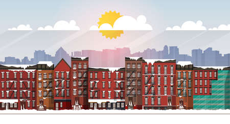 Vector Art Frozen Urban Scene. snow covered street in Brooklyn during a blizzard