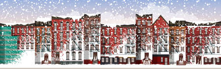 Vector Art Frozen City Scene. snow covered street in Brooklyn during a blizzard