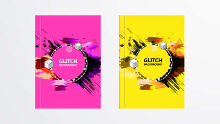 Covers with Abstract Glitch Graphics Design. Colorful backgrounds. Applicable for Banners, Placards, Posters, Flyers.