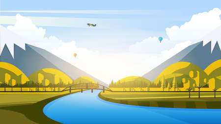 Vector Beautiful Flat Illustration Style Landscape in Spring  Summer. River Mountains and Trees.