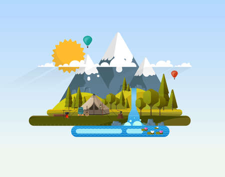 Vector Abstract Flat Design Landscape with Wild Camp.