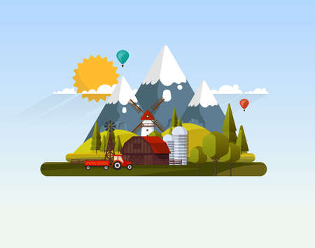 Flat Vector Farmland Abstract Illustration.