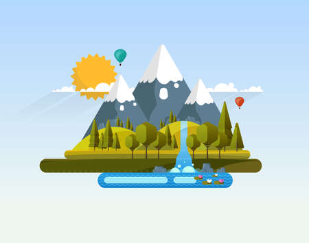 Vector Abstract Flat Design Landscape Ilustrace