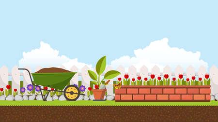 Beautiful flower bed vector illustration. Flowering garden in spring. Landscape background. Illustration