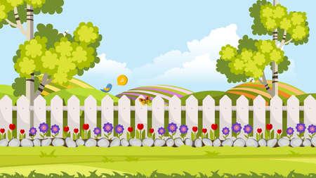 Beautiful Flower Bed Vector Illustration. Flowering Garden in Spring. Landscape Background.