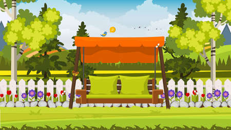 Beautiful Vector Backyard, Flower Bed, Trees, Fence And Swing Chair. Ilustração