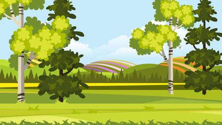 Beautiful Vector Cartoon Landscape.
