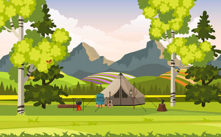 Beautiful Spring   Summer Landscape With Camping Tools