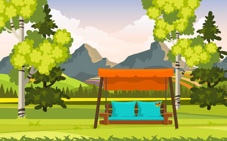 Beautiful Vector Landscape With Garden Swing Chair And Trees, Illustration