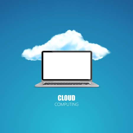 Cloud computing concept photorealistic vector Illustration