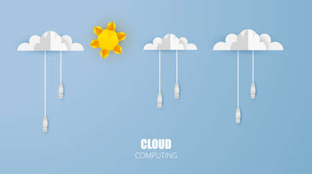 Cloud computing conceptor symbol with network cable on blue background. photorealistic vector