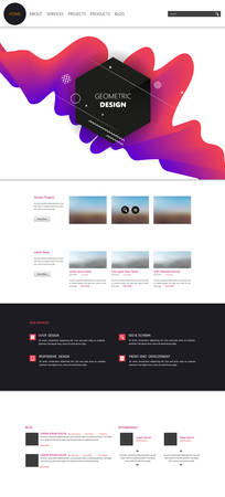 Modern cool website design template, with colorful abstract header design.