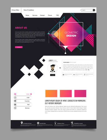 Abstract Geometric Trendy Website Template, one page design, headers and interface elements.