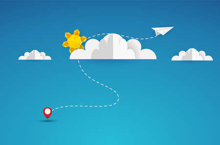 Paper plane flying between clouds. Modern origami background. Business concept design. Eps10 vector illustration. Illustration
