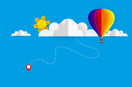 Vector origami made colorful hot air balloon and cloud.paper art and digital craft style.