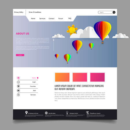 Colorful Vector Website with Origami Paper Clouds and Sky Header Design.
